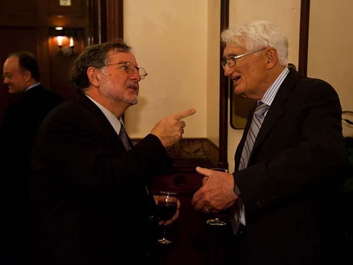 José Casanova and Jürgen Habermas converse after a 2011 Habermas lecture at Georgetown.