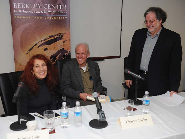 Nilüfer Göle, Charles Taylor, and José Casanova at a seminar on secularism and religious pluralism.
