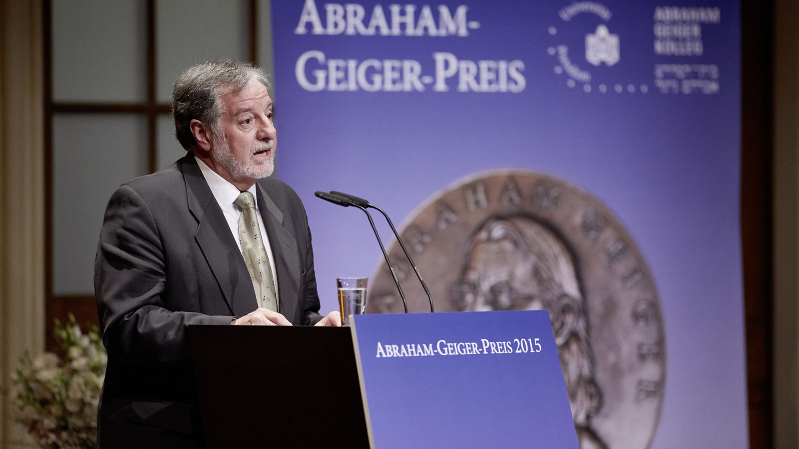 José Casanova offering keynote at the Abraham Geiger Prize ceremony honoring Angela Merkel in 2015.
