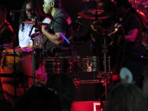 Percussion section Earth, Wind, & Fire concert at Tanglewood, June 18, 2016. Photo: Dave Read, BerkshireLinks.com.