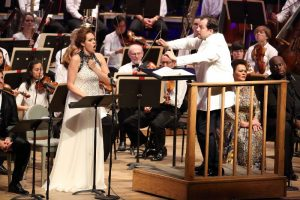 Music Director Andris Nelsons leads the BSO and soprano Kristine Opolais in Verdi's Aida at Tanglewood, Aug. 20, 2016; Hilary Scott photo.