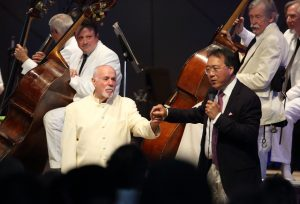 Cellist Yo-Yo Ma and conductor David Zinman at Tanglewood with Boston Symphony Orchestra, Aug. 6, 2017; Hilary Scott photo.