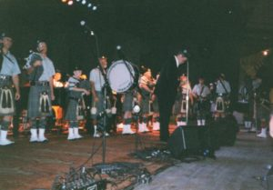 Berkshire Highlanders perform on the first broadcast of A Prairie Home Compabion at Tanglewood, July 2, 2000. photo: Dave Read.