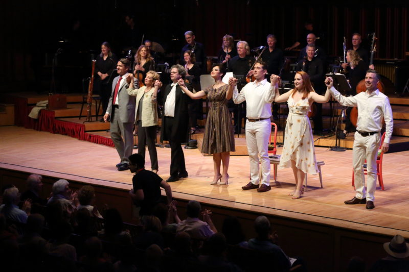 Leonard Bernstein's Trouble in Tahiti, cast photo with director Jamie Bernstein, at Tanglewood; Hilary Scott photo.