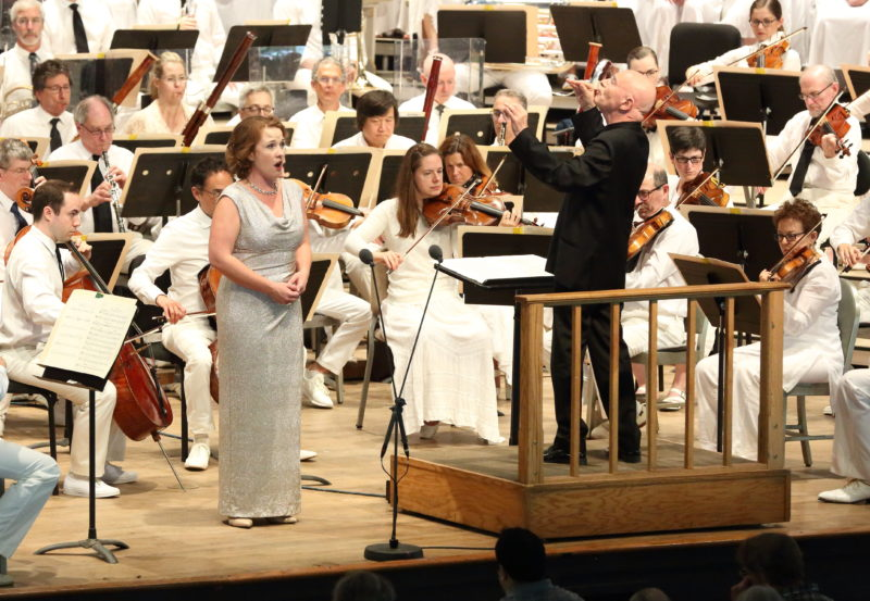 Christoph Eschenbach leads the BSO, TFC, Hanna-Elisabeth Müller, Sasha Cooke, Joseph Kaiser, and Thomas Hampson at Tanglewood August 26, 2018; Hilary Scott photo.