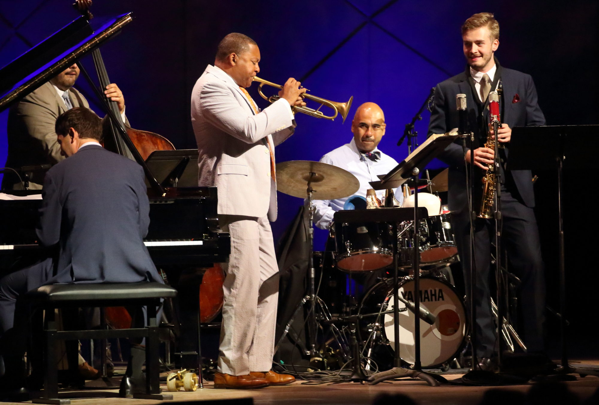 Wynton Marsalis Quintet and Ellis Marsalis Quintet at Tanglewood Sept. 1, 2018; Hilary Scott photo.