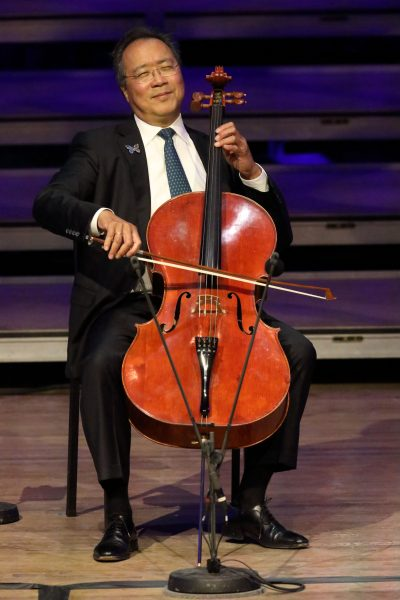 Yo-Yo Ma performs Bach's Six Cello Suites at tanglewood; Hilary Scott photo.