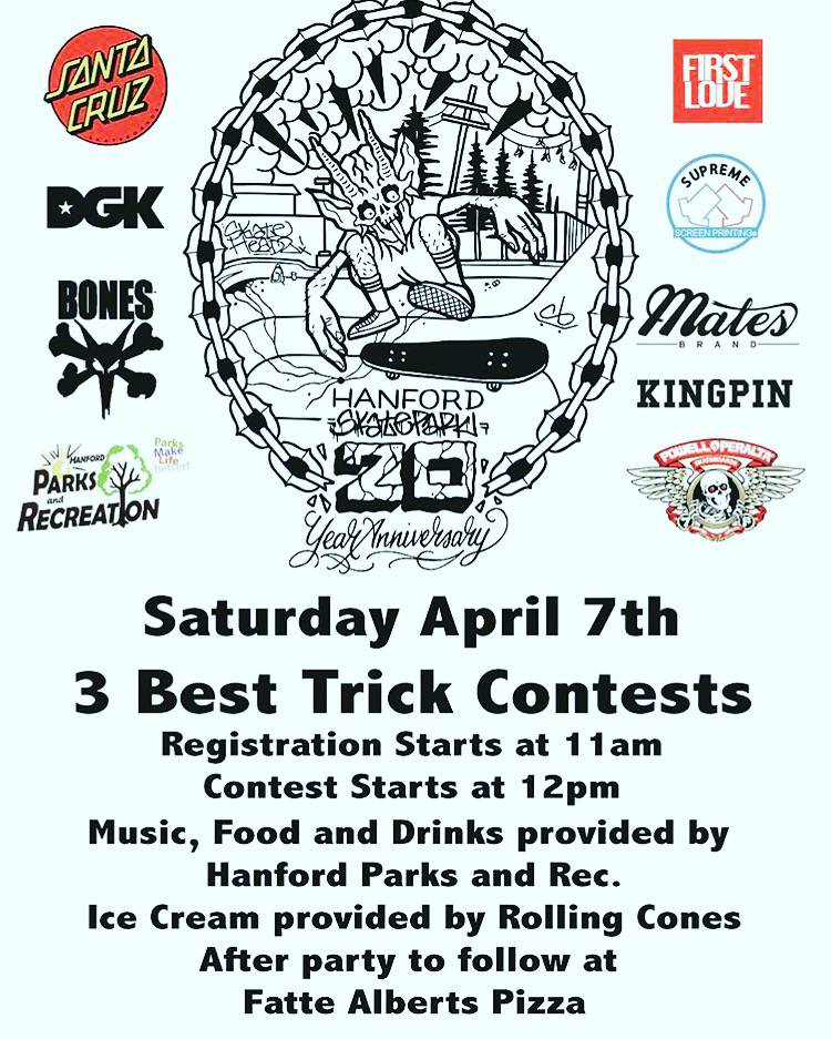 HANFORD SKATEPARK 20TH ANNIVERSARY -- Best Trick Contests - April 7