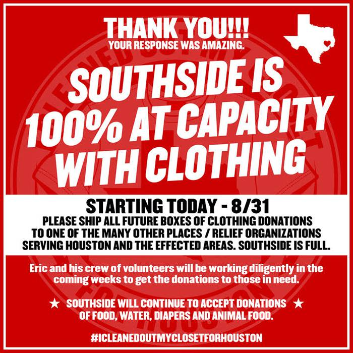 UPDATE -- Houston Disaster Relief