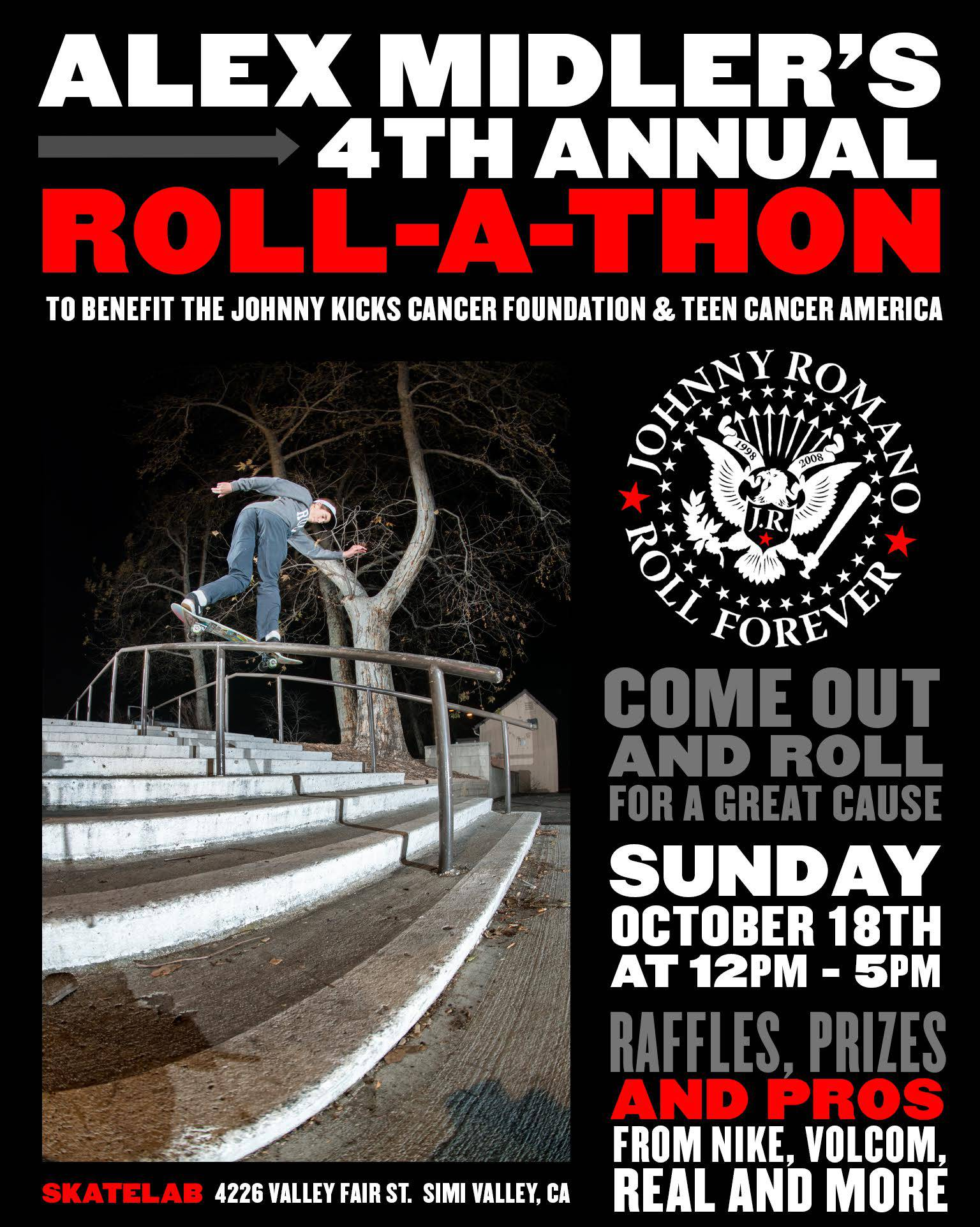 Alex Midler's 4th Annual Roll-a-Thon -- This Sunday At Skatelab