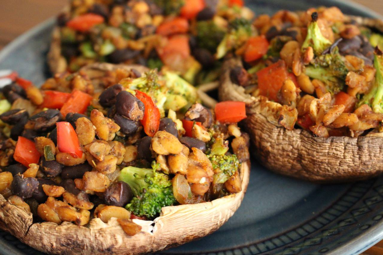 TOM-PEH STUFFED SHROOMS -- Salad Grinds and Bean Plants #6