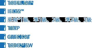 TOEFL iBT IELTS 英検1級、準1級 TEAP GTEC CBT TOEIC SW