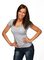Young positive brunette girl with long hair wearing t-shirt and