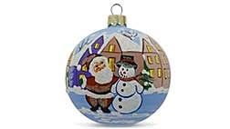Glass Ukrainian and Wooden Russian Christmas Ornaments
