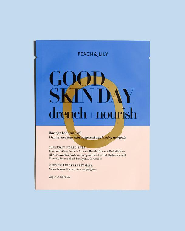 peach & lil good skin day drench and nourish, best sheet masks for airplanes
