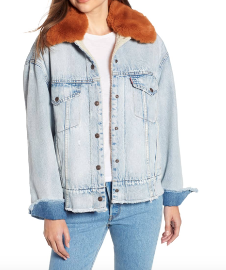 36ec5ab83446 Levi s Oversize Faux Shearling Lined Denim Trucker Jacket With Removable  Faux Fur Collar (  168  117.60)