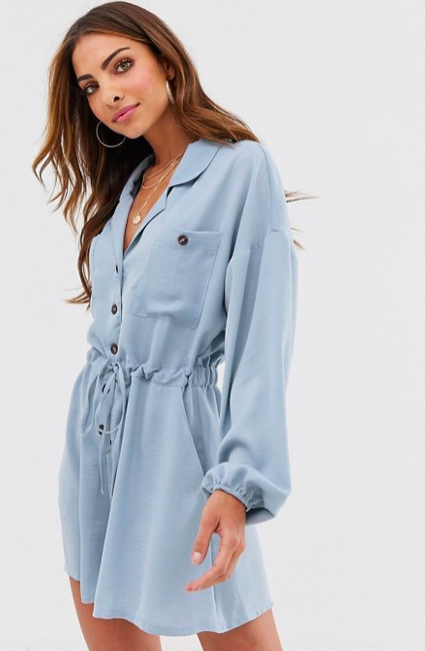 ASOS DESIGN button front slouchy waisted boiler romper