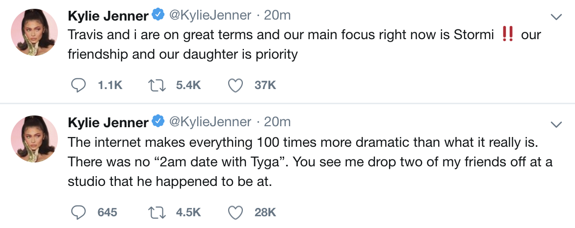 Kylie Jenner addresses breakup