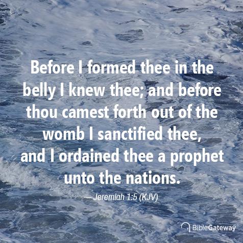 Jeremiah 1:5 (2/13/2611) - KJV Visual Verse of the Day
