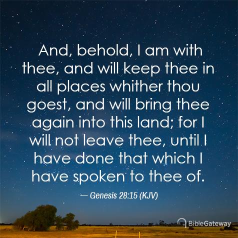 Genesis 28:15 (2/19/2521) - KJV Visual Verse of the Day - Bible