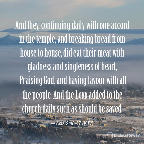 Acts 2:46-47 (7/30/1913) - KJV Visual Verse of the Day - Bible