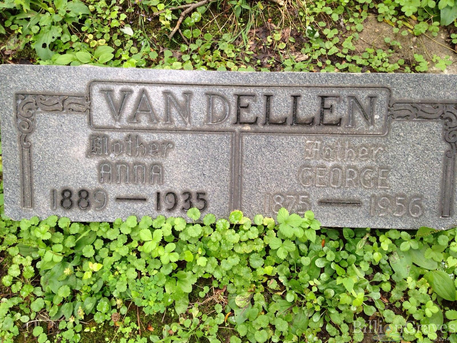 grave site of george van dellen 1875 1956 billiongraves headstone image of george van dellen