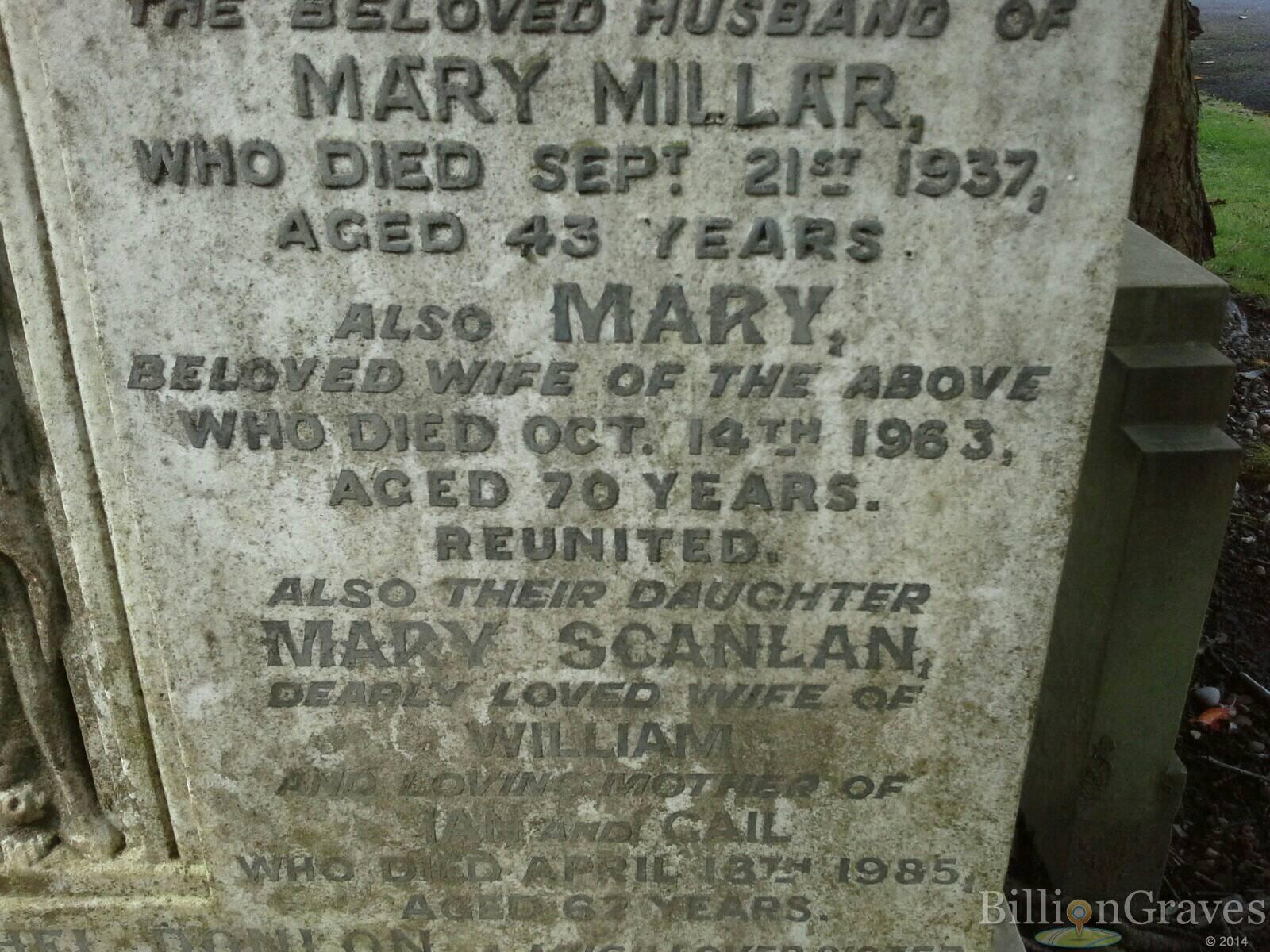 mary millar funeral