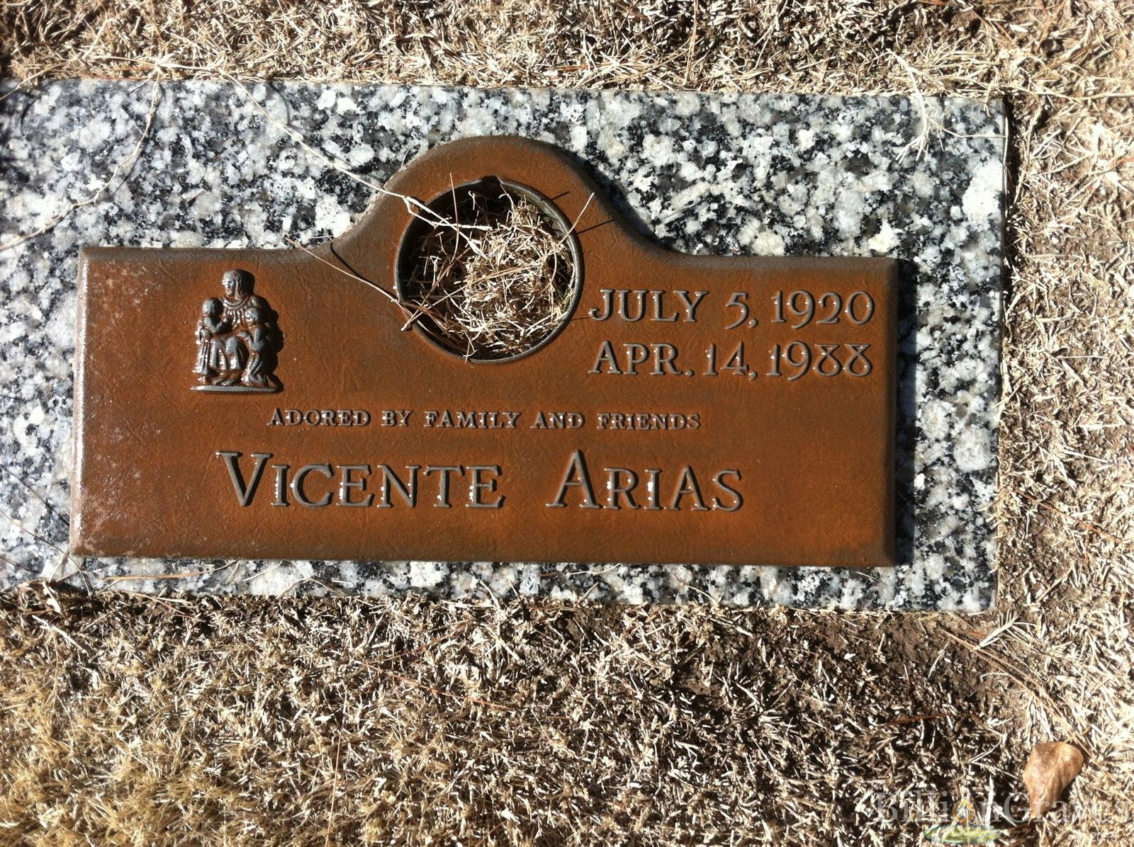 Vicente Arias (1920-1988) Grave Site Cemetery: Memory Gardens of the ...