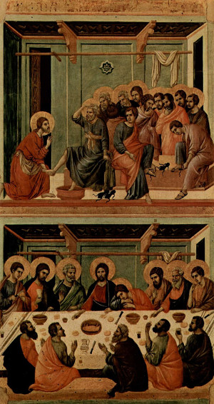 Jesus and his disciples on what will be called Maundy Thursday