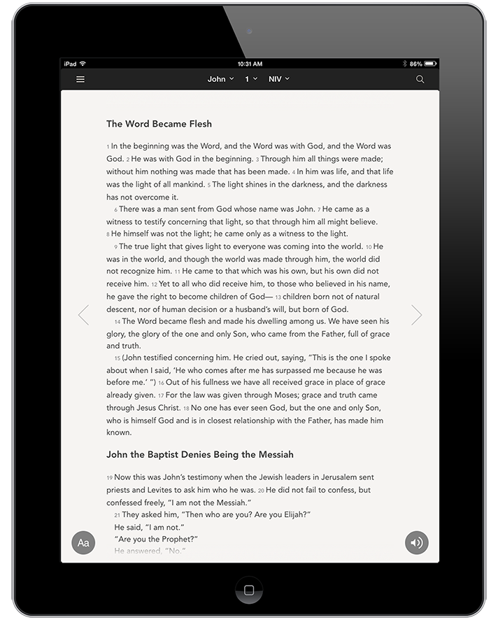 Click to enlarge the NIV Bible on a tablet