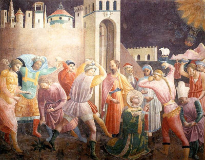 Paolo Uccello's depiction of the stoning of Saint Stephen, the first recorded Christian martyr