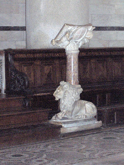 Marble lectern in the Pisa Baptistry, Italy, for public reading of Scripture