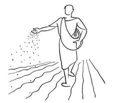 Illustration by Annie Vallotton of the Parable of the Sower from Matthew 13 (GNT)