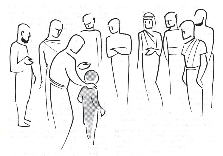 Illustration by Annie Vallotton of Jesus teaching about the faith of a child from Matthew 18:2-4 (GNT)