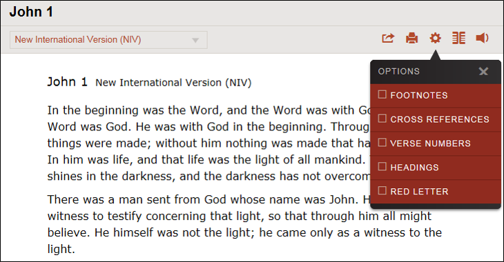Read the Bible on Bible Gateway in manuscript style by clicking the Gear icon and UNchecking each option box