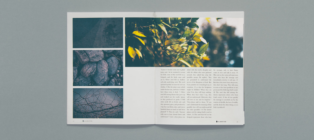 A sample page spread published by Alabaster