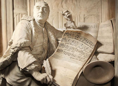 Handel in Westminster Abbey: The French sculptor Louis Roubiliac used Messiah as the theme for Handel's monument in Westminster Abbey, dedicated three years after Handel's death.