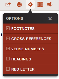 Toggle text options like verses and footnotes
