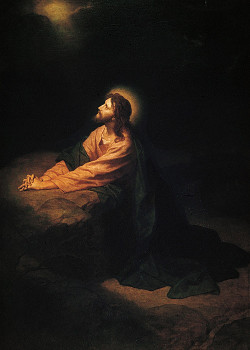 Jesus praying at Gethsemane