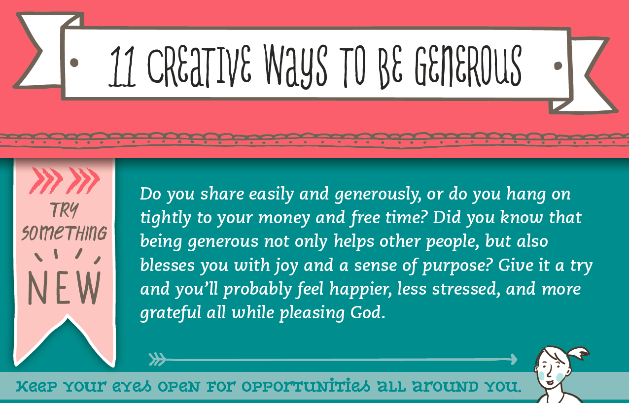 See the NIV True Images Bible infographic 11 Creative Ways to Be Generous