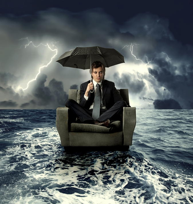 Business Man in a storm illustration