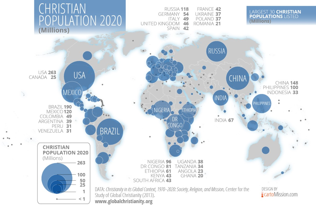 Infographic: The Status of Christianity Around the World - Bible