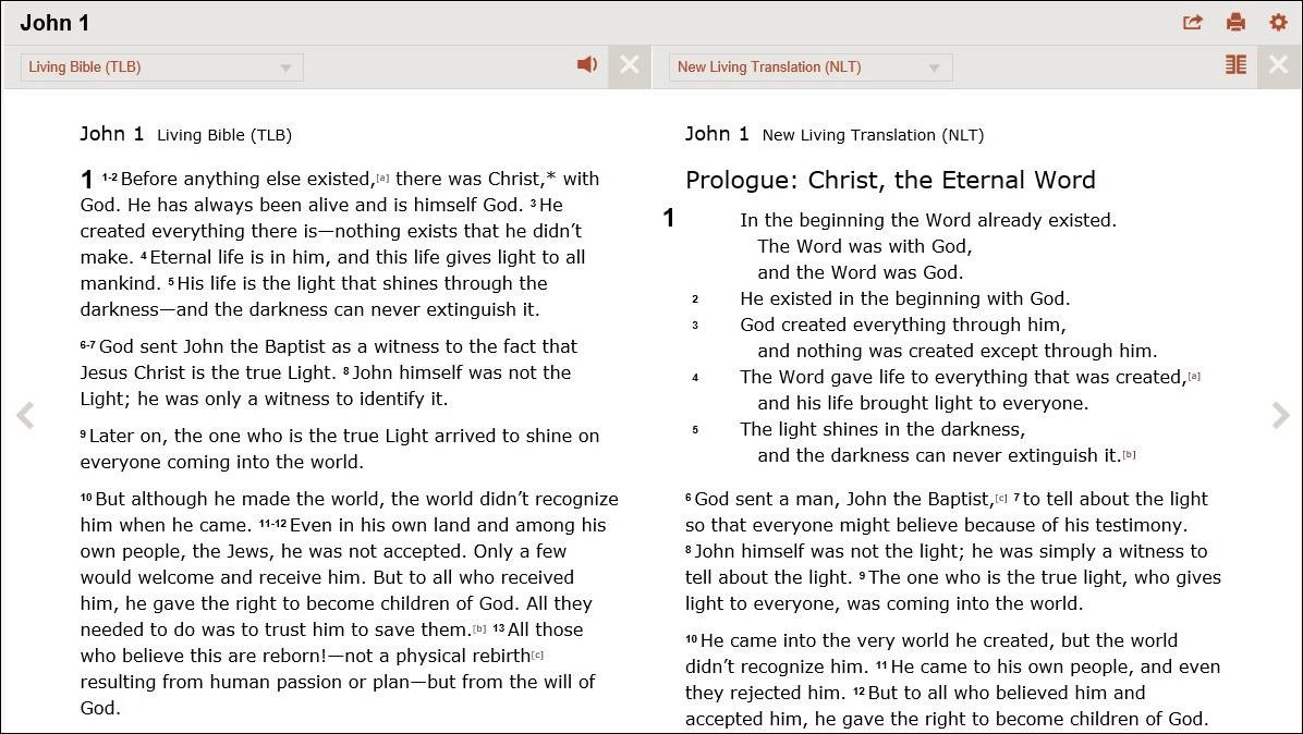Compare The Living Bible and the New Living Translation on Bible Gateway