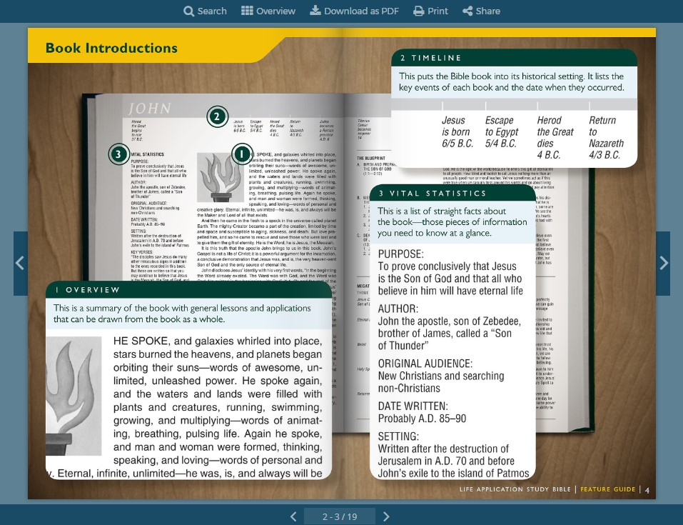 Click to flip through the features of the NLT Life Application Study Bible
