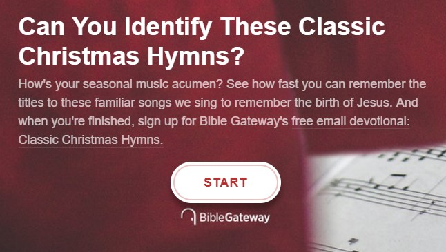 Take the Bible Gateway Christmas Hymns Quiz - Bible Gateway Blog