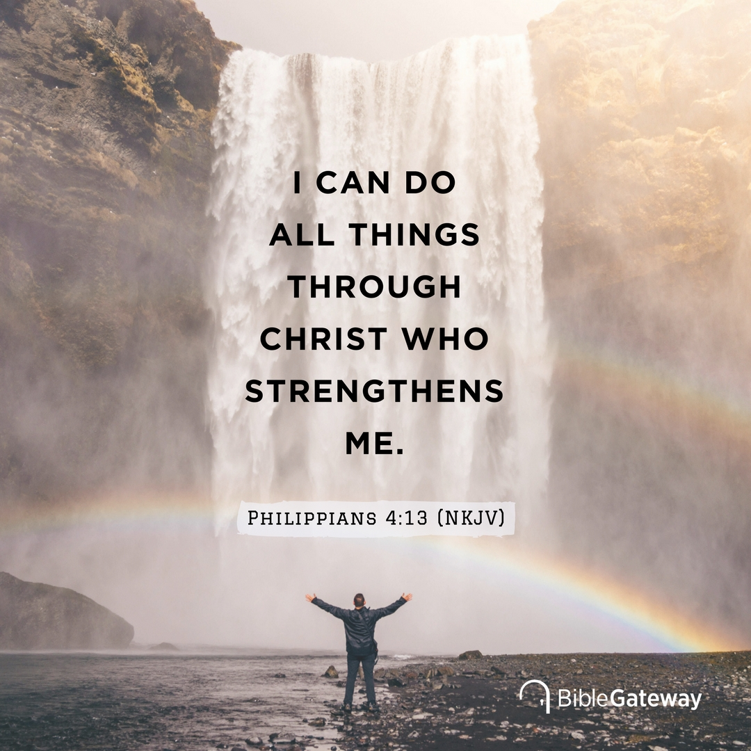Copy and share this Bible Gateway meme of Philippians 4:13 on your own social networks