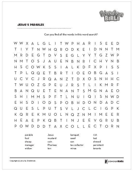 Print this Jesus Parables Word Search