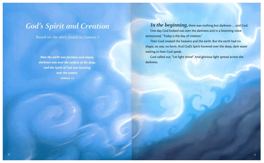 Click to enlarge this page sample of Genesis 1 from The Spirit of God Illustrated Bible