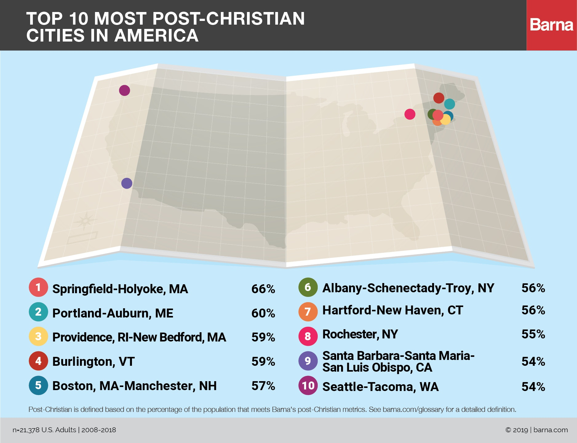 Map of the 10 Most Post-Christian USA Cities according to Barna Research
