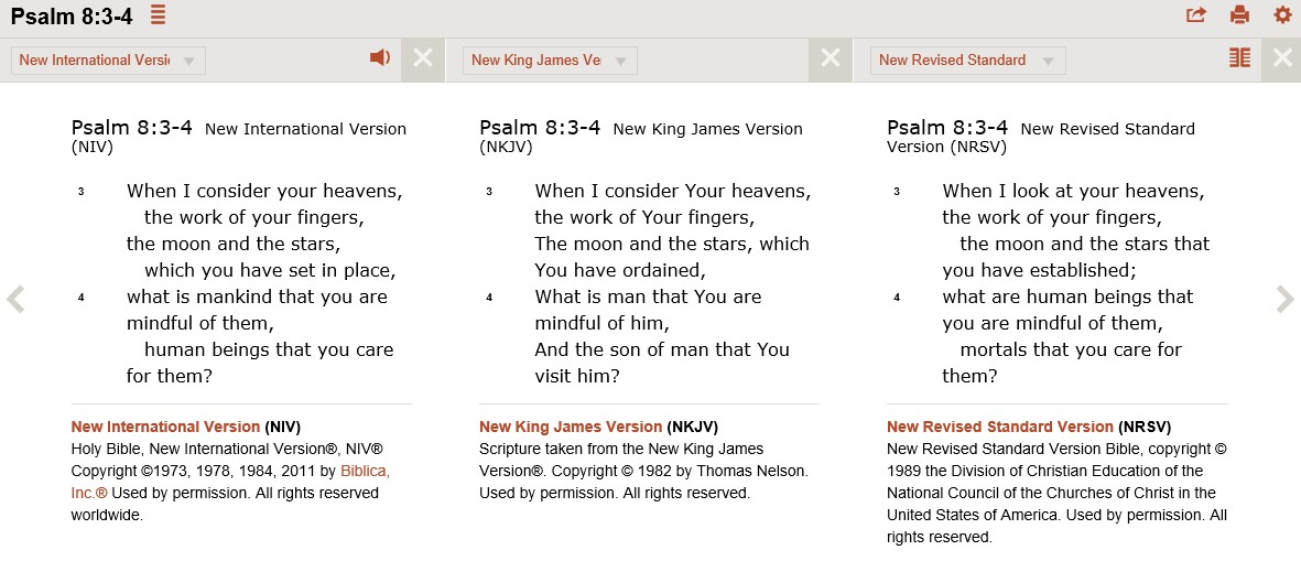 Read Psalm 8:3-4 (NIV, NKJV, and NRSV in parallel) on Bible Gateway